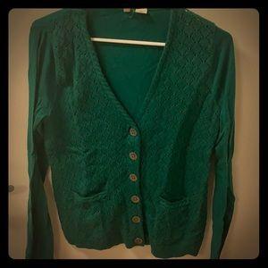 Anthropologie green crochet cardigan sz L